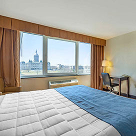 guest room with view of the Connecticut State Capitol